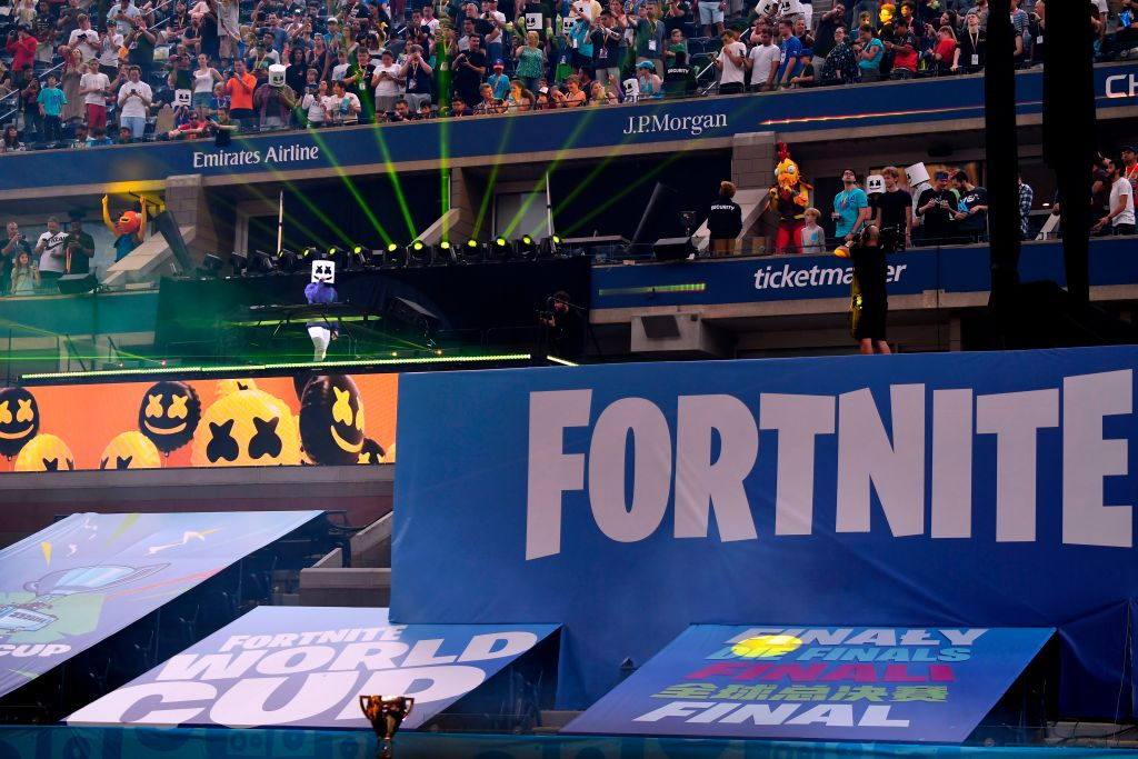 Views of the Fortnite sign at the 2019 Fortnite World Cup on July 28, 2019.