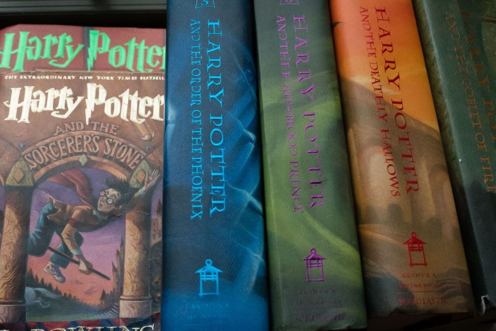 The spines on Harry Potter books