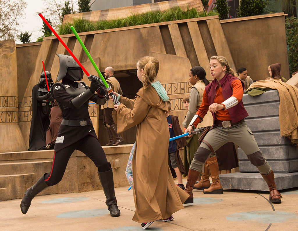 Children train as young Padawans at Disney World at the Jedi Training: Trials of the Temple. This could be what the new Disney+ game show will look like.