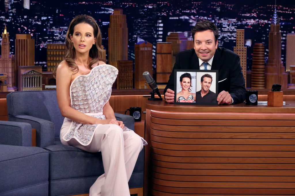 Kate Beckinsale during an interview with host Jimmy Fallon.