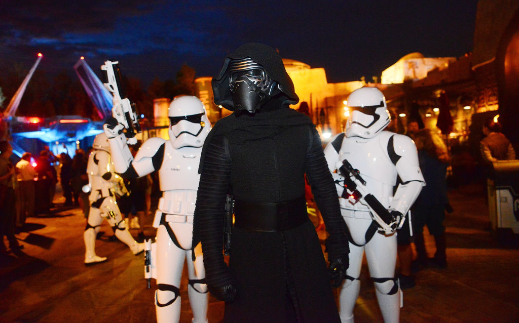 Character actors of Kylo Ren and Storm Troopers at the Star Wars: Galaxy's Edge Walt Disney World Resort Opening at Disney World's Hollywood Studios.