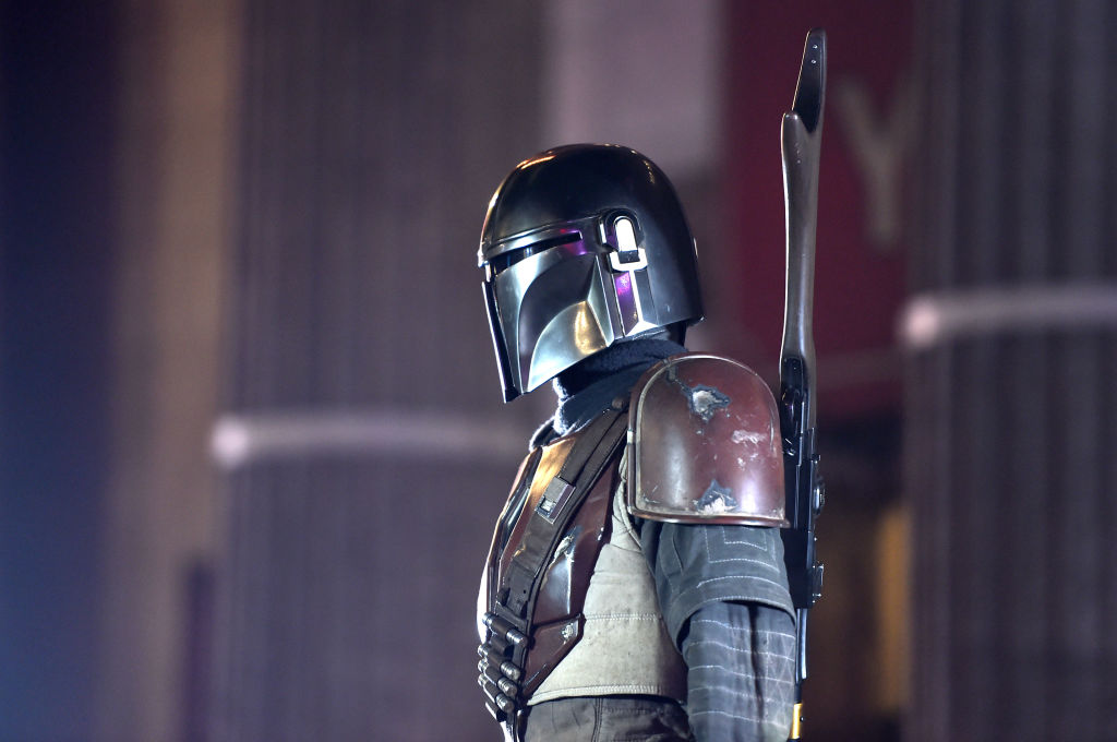 The Mandalorian stands at attention at the California premiere for the Disney+ show.