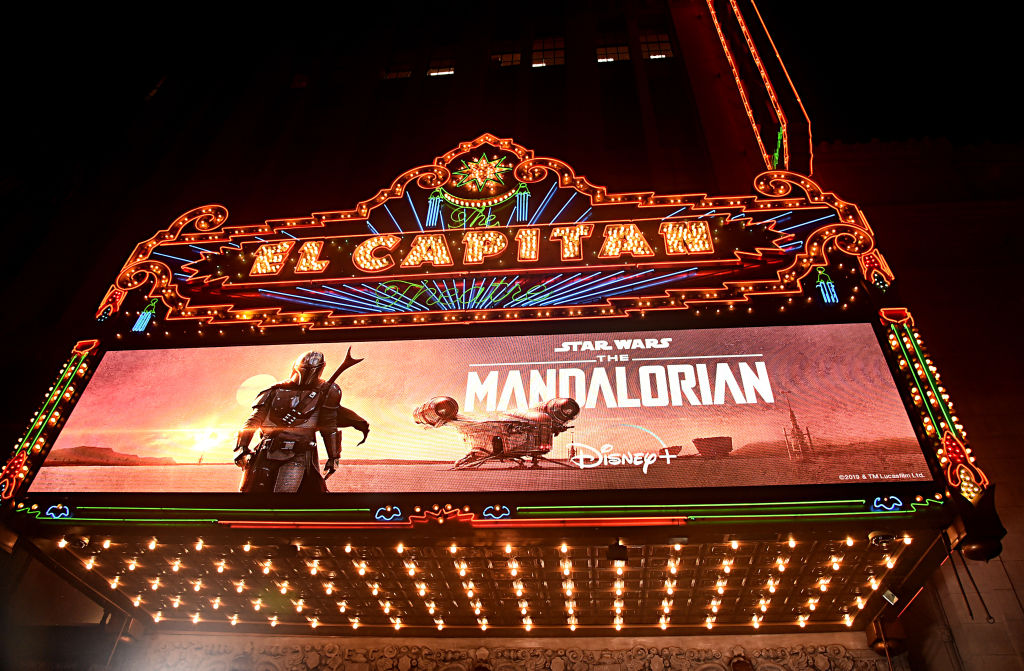 The marquee at the premiere for 'The Mandalorian,' at the El Capitan Theatre in Hollywood.