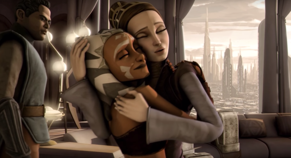 Padmé and Ahsoka hug before they leave for Alderaan in Season 3 of 'The Clone Wars.'