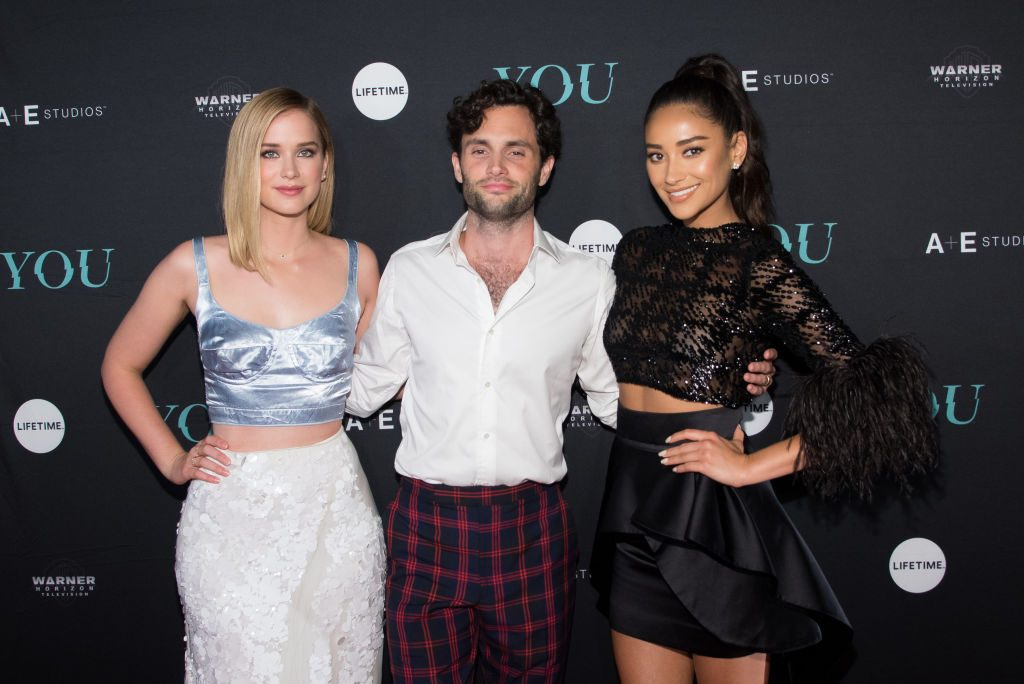 Elizabeth Lail, Penn Badgley and Shay Mitchell attend the 'You' Series Premiere Celebration