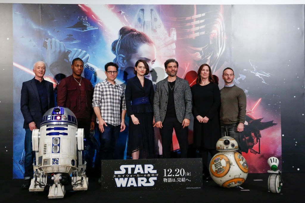 The cast of 'The Rise of Skywalker' along with director J.J. Abrams and Lucasfilm president Kathleen Kennedy at a press conference in Japan.