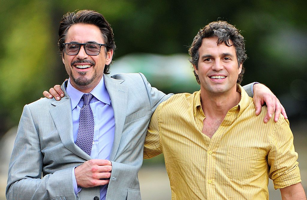 Robert Downey Jr. and Mark Ruffalo filming 'The Avengers'