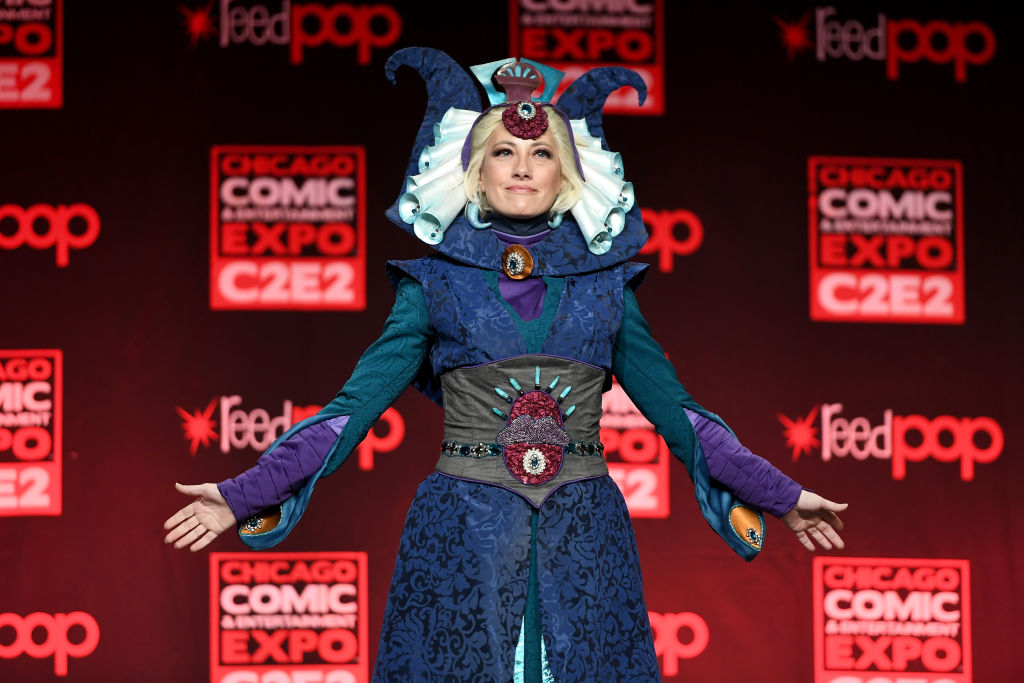 A cosplayer dressed as Duchess Satine Kryze from 'Star Wars: The Clone Wars' at C2E2's Crown Champions of Cosplay in 2017.