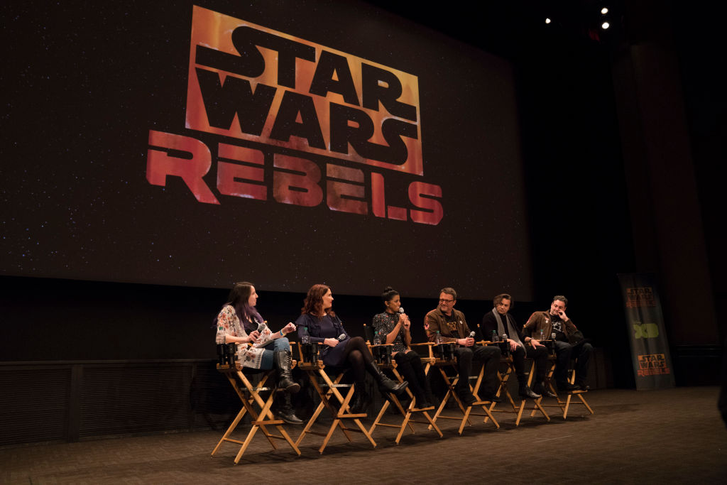The cast and creators for 'Star Wars: Rebels' on a panel for the series finale.