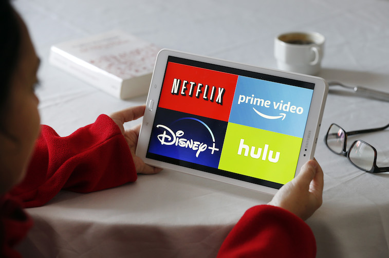 Streaming service apps shown on a tablet