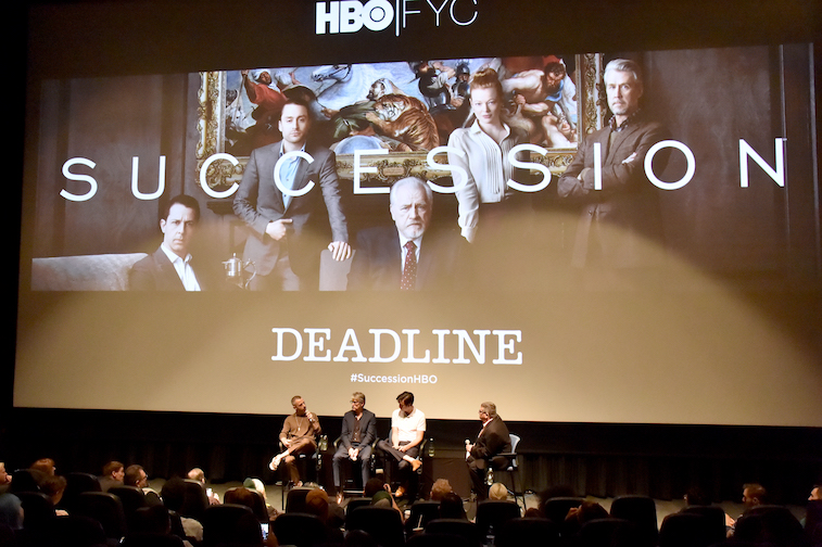 Jeremy Strong, Alan Ruck and Nicholas Braun onstage