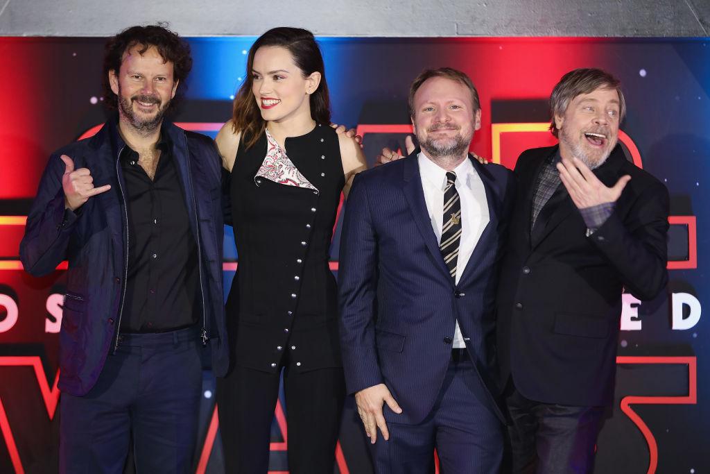 Ram Bergman, Daisy Ridley, Rian Johnson, and Mark Hamill pose at the 'Star Wars: The Last Jedi' fan event in Mexico City, Mexico.