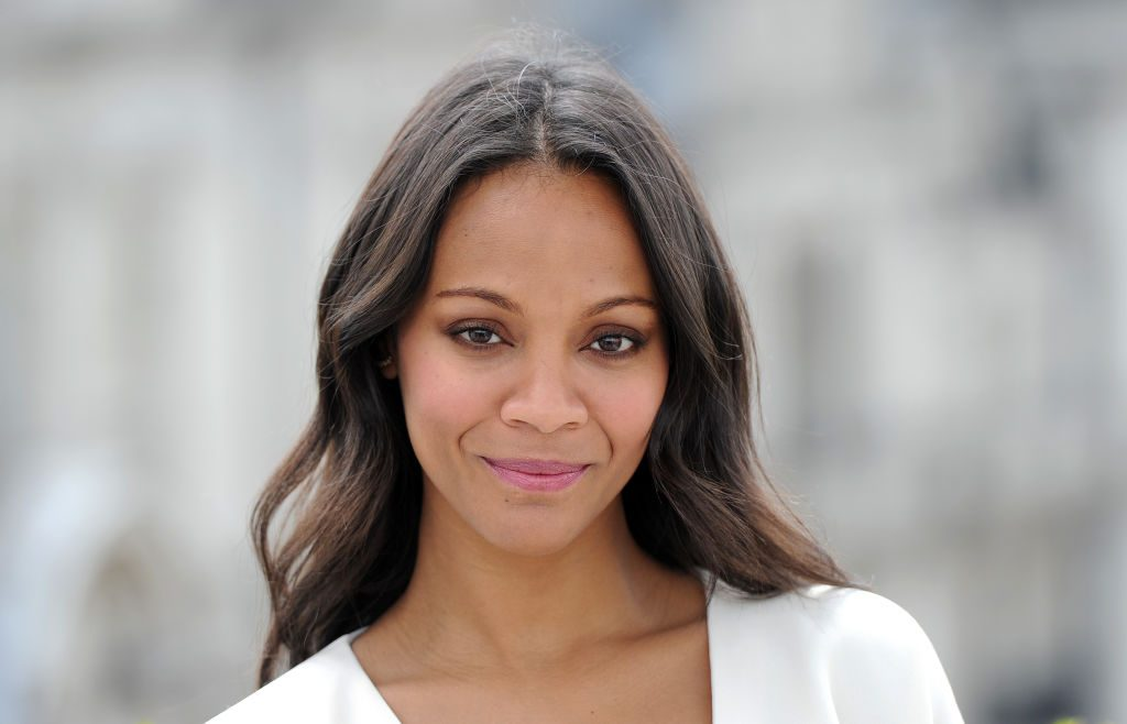 """Zoe Saldana attends the """"Guardians of the Galacy"""" photocall on July 25, 2014 in London."""