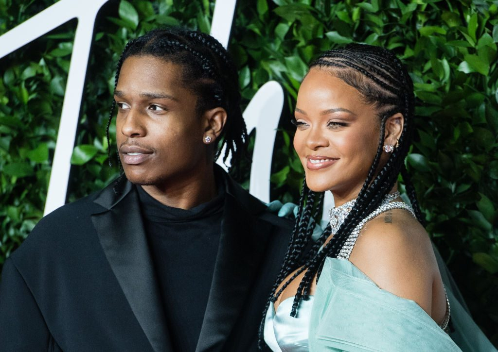 Rihanna and ASAP Rocky at an event in December 2019