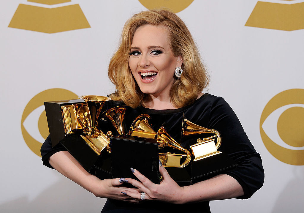 Adele poses with her Grammy awards on Feb. 12, 2012, during the Grammy Awards