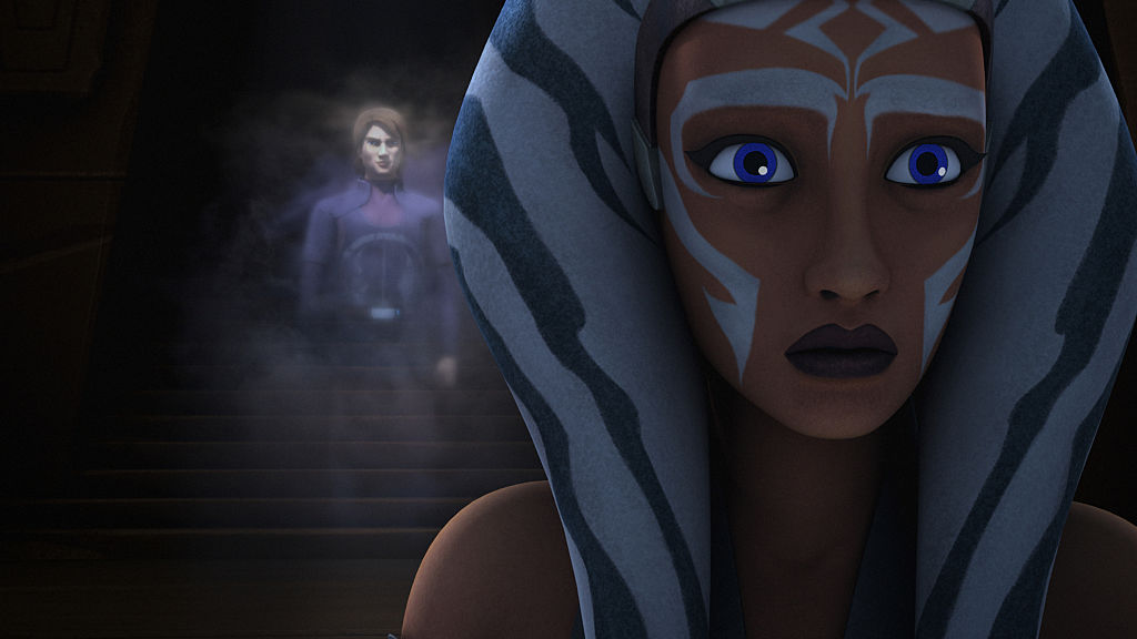 Ahsoka has a vision of her former master Anakin Skywalker at to the Jedi Temple on Lothal, in 'Star Wars Rebels' Season 2.