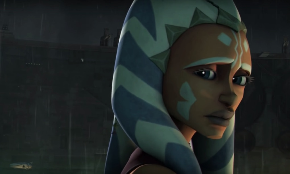 Ahsoka Tano fleeing the search for her in Season 5 of 'The Clone Wars.'