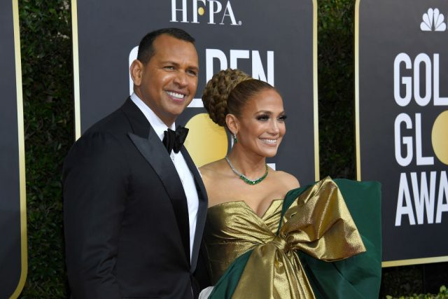 Alex Rodriguez and Jennifer Lopez at the 77th Annual Golden Globe Awards on Jan. 5, 2020