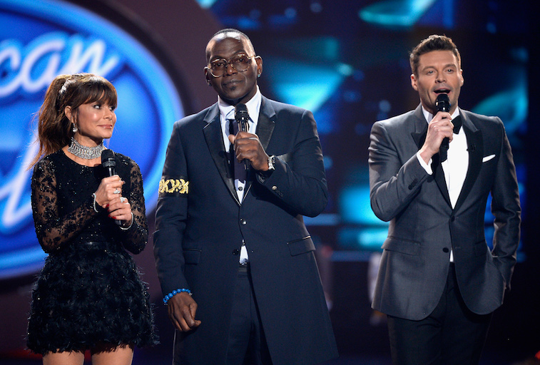 Paula Abdul and Randy Jackson and host Ryan Seacrest during American Idol