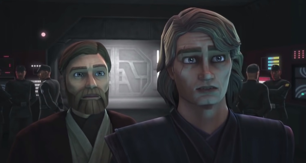 Obi-Wan Kenobi and Anakin Skywalker see a hologram of Ahsoka for the first time since she's left the Jedi Order.