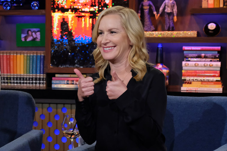 Angela Kinsey on the set of Live With Andy Cohen