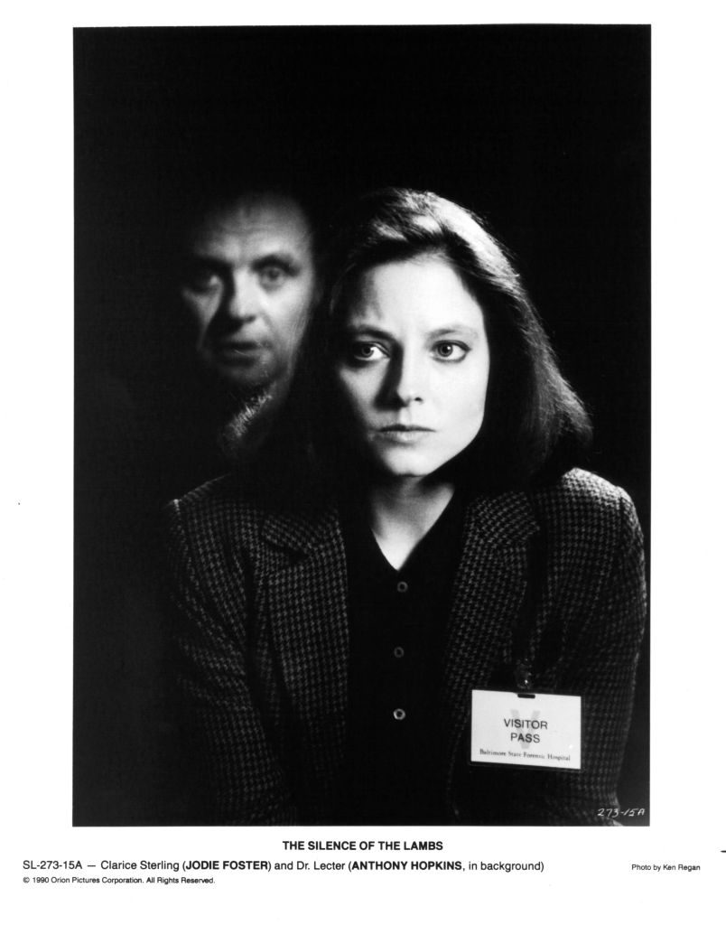 Actor Anthony Hopkins and actress Jodie Foster on set of the movie 'The Silence of the Lambs,' circa 1991