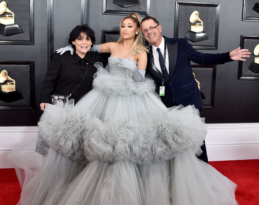 Ariana Grande poses with her parents at the 2020 Grammy Awards