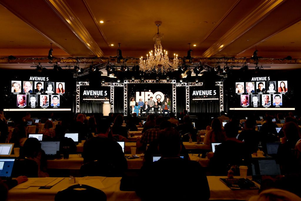 Lenora Crichlow, Ethan Phillips, Zach Woods, Rebecca Front, Suzy Nakamura, Nikki Amuka-Bird, Hugh Laurie, Armando Iannucci and Josh Gad of 'Avenue 5' appear onstage during the HBO segment of the 2020 Winter Television Critics Association Press Tour