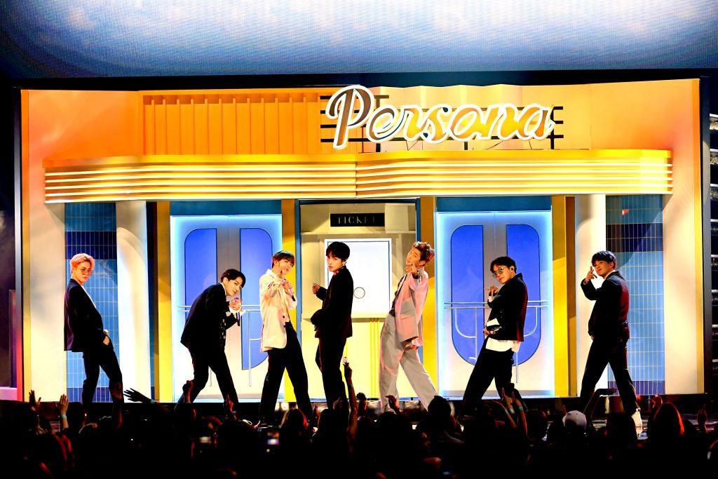 BTS perform onstage during the 2019 Billboard Music Awards