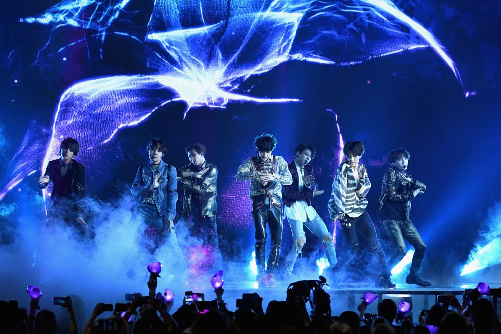 Musical group BTS performs onstage during the 2018 Billboard Music Awards