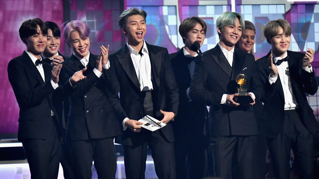 BTS speaks onstage during the 61st Annual GRAMMY Awards
