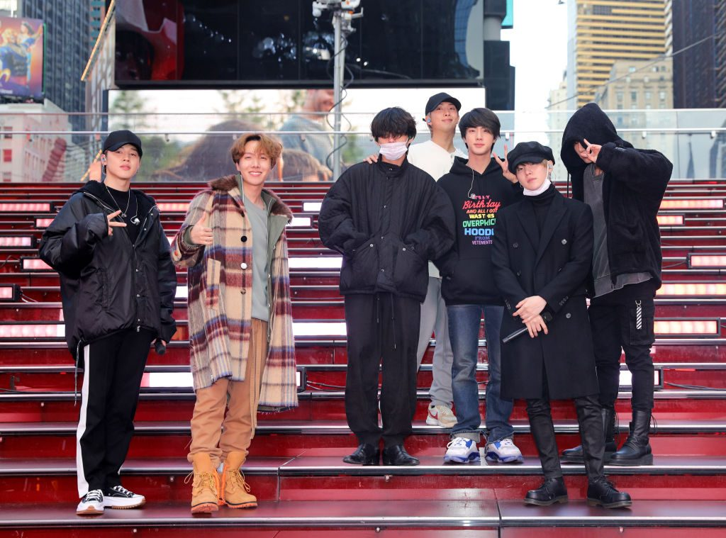 K-Pop band, BTS is seen in Times Square on December 31, 2019 in New York City