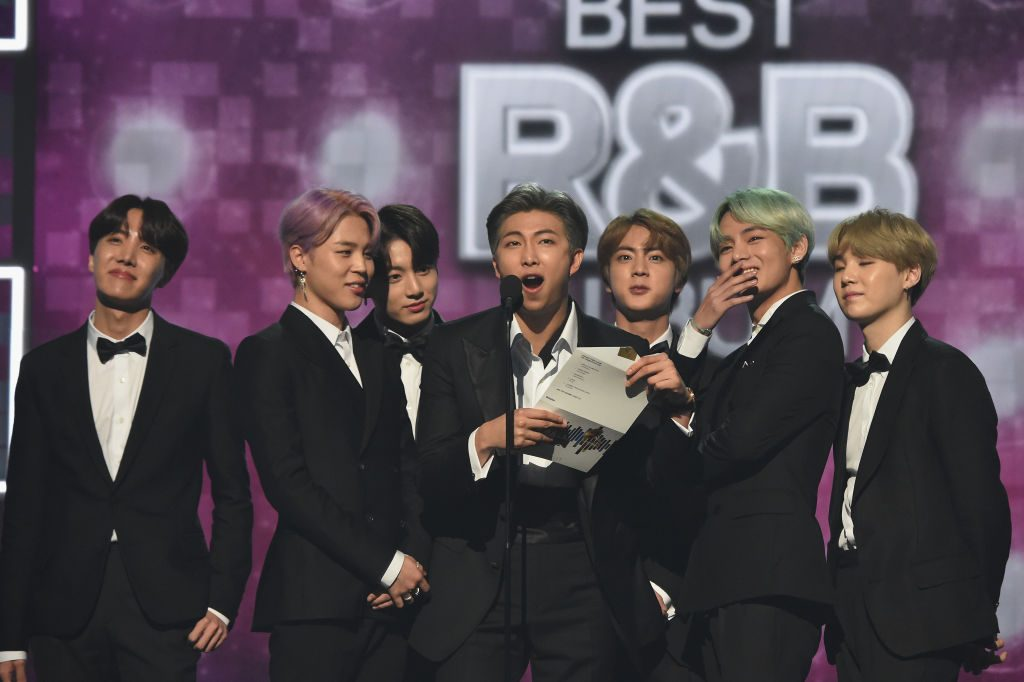 BTS speaks onstage during the 61st Annual GRAMMY Awards at Staples Center on February 10, 2019 in Los Angeles, California.