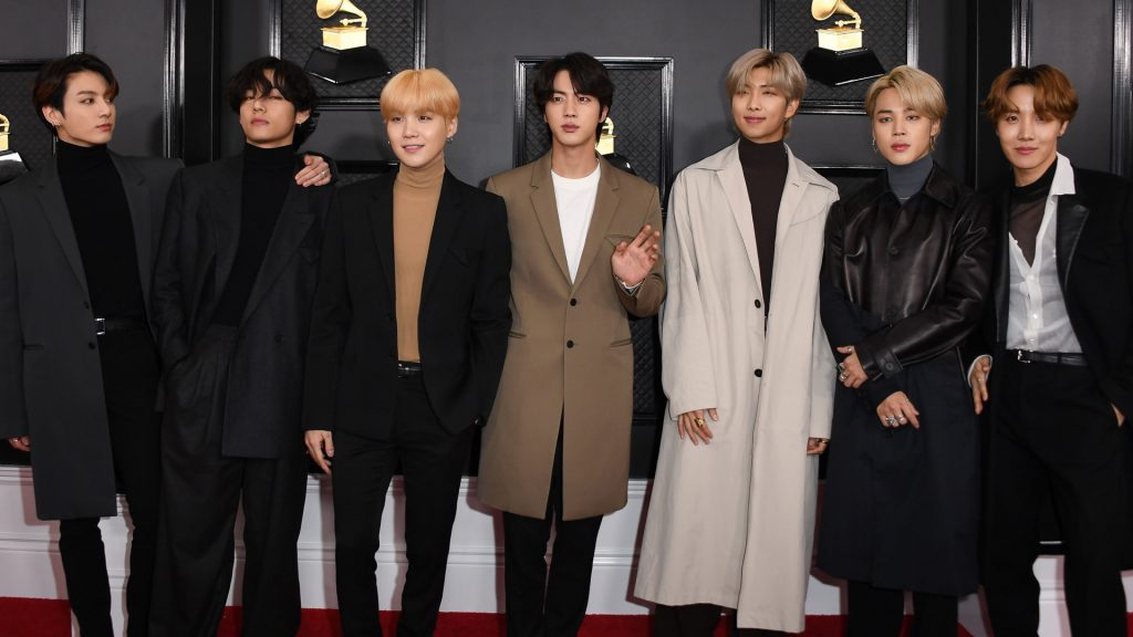 South Korean boy band BTS arrives for the 62nd Annual Grammy Awards on January 26, 2020, in Los Angeles.