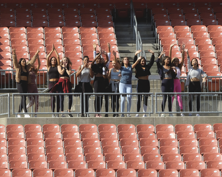 Contestants on Peter Weber's season of 'The Bachelor' at a football stadium in Cleveland, Ohio.