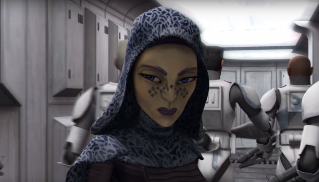 "Barriss Offee under the influence of a parasite in Season 2 Episode 8 ""Brain Invaders"" of 'The Clone Wars.'"