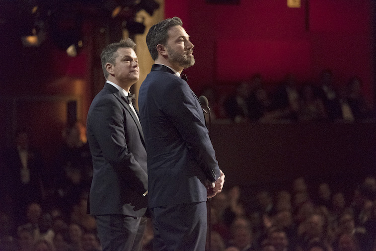 Ben Affleck and Matt Damon present onstage