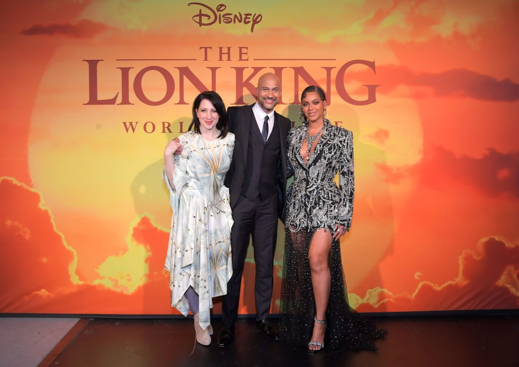 """Elisa Key, Keegan-Michael Key, and Beyoncé Knowles-Carter attend the World Premiere of Disney's """"THE LION KING"""""""