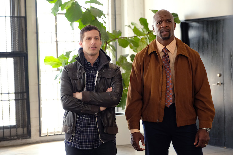 Andy Samberg as Jake Peralta, Terry Crews as Terry Jeffords