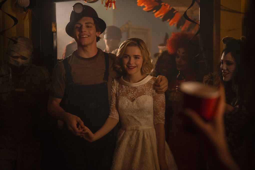 Sabrina and Harvey at a Halloween party in Part 1, Chapter 2 of 'CHILLING ADVENTURES OF SABRINA.'