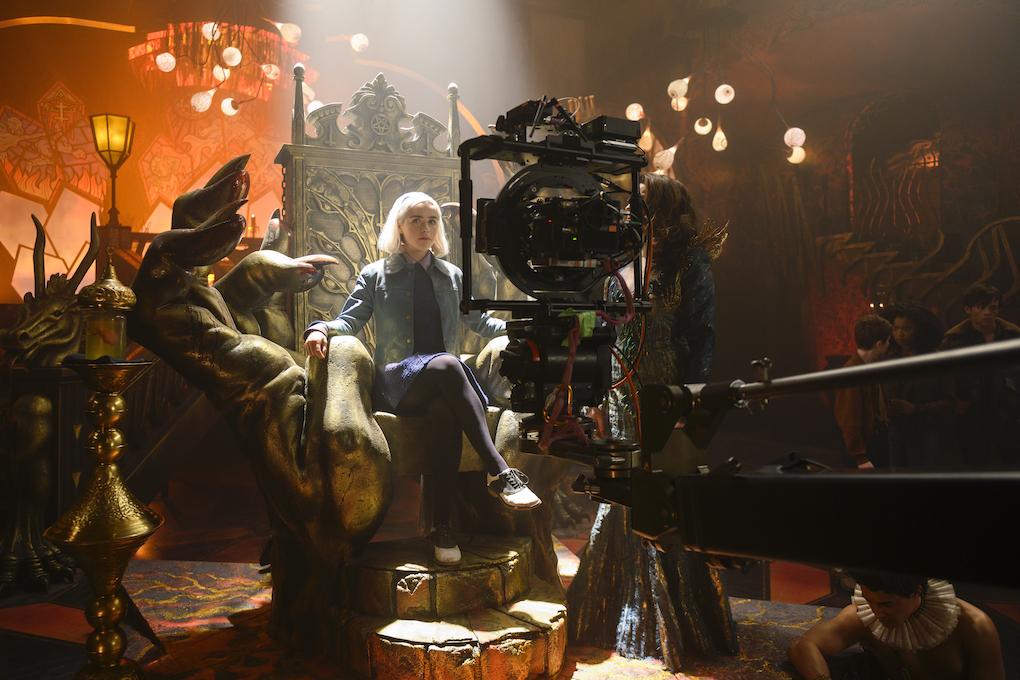 Cameras on Sabrina (Kiernan Shipka) in the behind the scenes of 'CHILLING ADVENTURES OF SABRINA.'