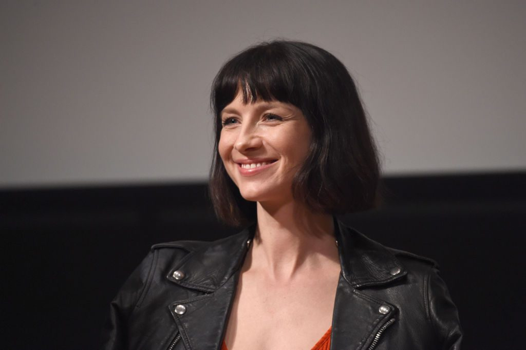 Could this be the leather jacket Caitriona Balfe splurged on? | Michael Kovac/Getty Images for STARZ
