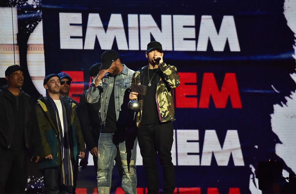 Eminem accepts award on stage during the MTV EMAs 2017 held at The SSE Arena