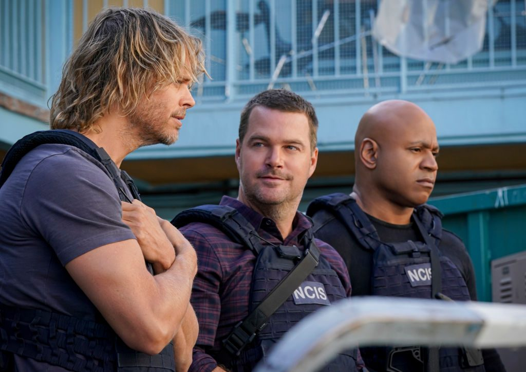 Eric Christian Olsen, Chris O'Donnell and LL Cool J on the set of NCIS: Los Angeles. | Michael Yarish/CBS via Getty Images