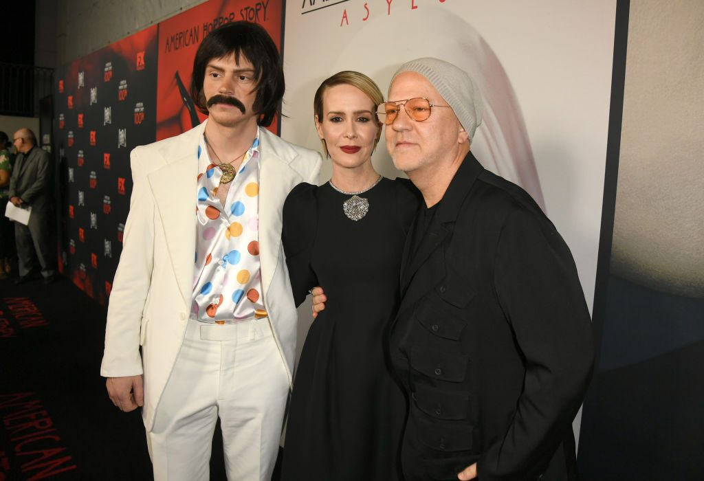 "Evan Peters, Sarah Paulson, and Ryan Murphy attend FX's ""American Horror Story"" 100th Episode Celebration at Hollywood Forever on October 26, 2019 in Hollywood, California."