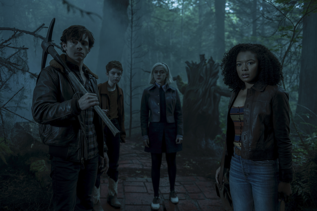 Sabrina, Harvey, Theo, and Roz travel through Hell, passing through the Forest of Torment, 'CHILLING ADVENTURES OF SABRINA.'