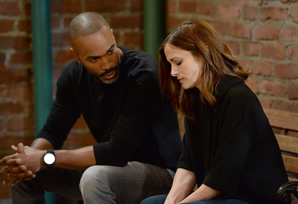 Donnell Turner and Rebecca Budig acting on the set of 'General Hospital'