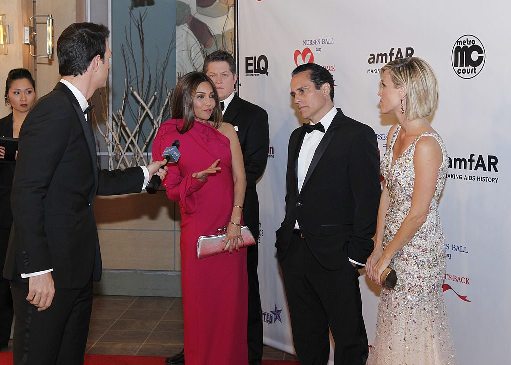 Vanessa Marcil, Derk Cheetwood, Maurice Benard, and Laura Wright on 'General Hospital' in 2013