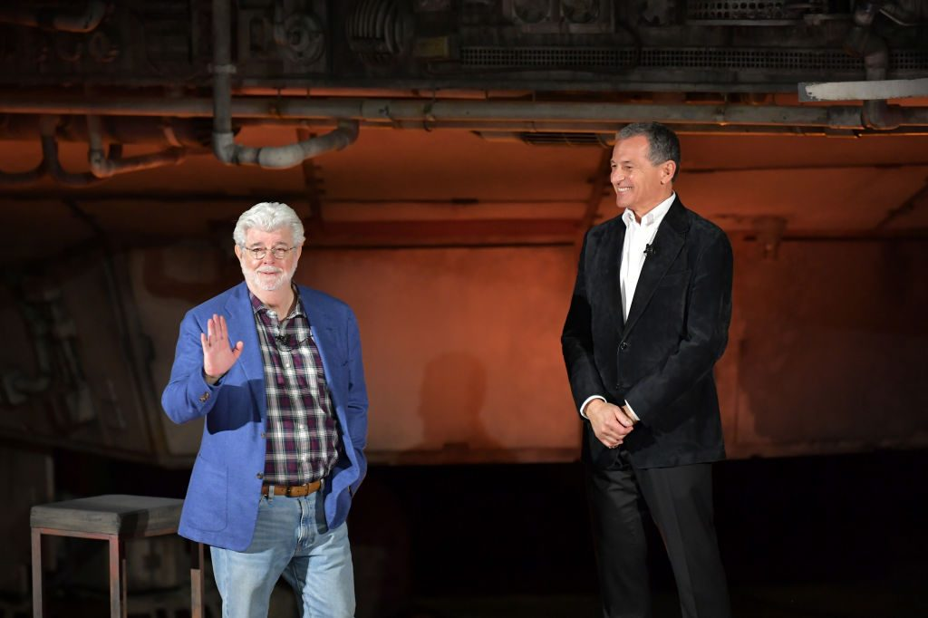 George Lucas and Bob Iger at Star Wars: Galaxy's Edge