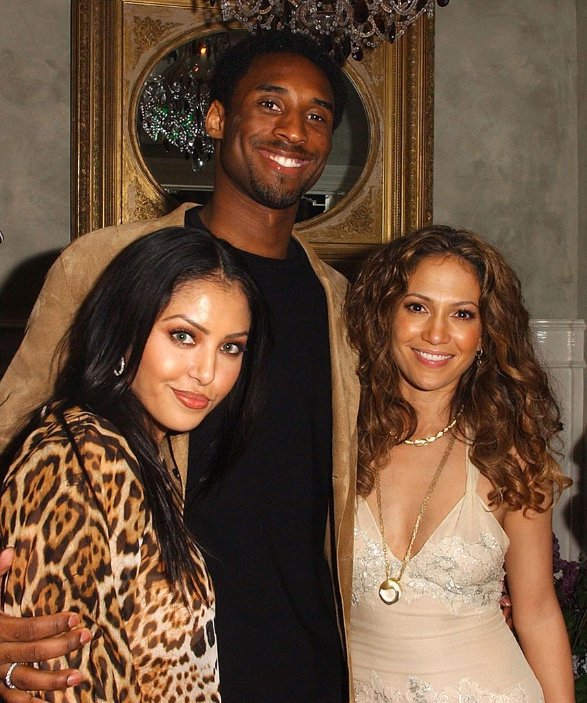 "Kobe Bryant and his wife, Vanessa, at the opening of Jennifer Lopez's restaurant ""Madre's"" in 2002"